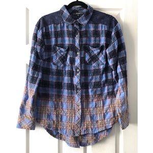 Miss Me Plaid Wrinkle Crochet Shirt Size S